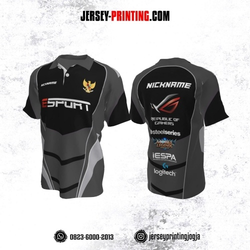 Jersey Gaming Esports Kerah Polo Abu-abu Hitam Garis