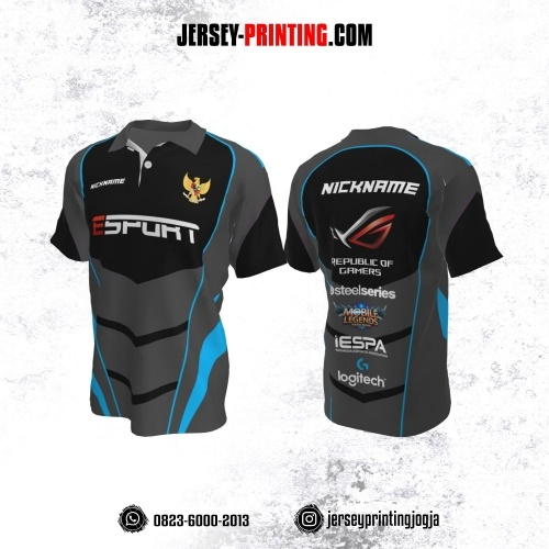 Jersey Gaming Esports Kerah Polo Abu-abu Hitam Garis Biru