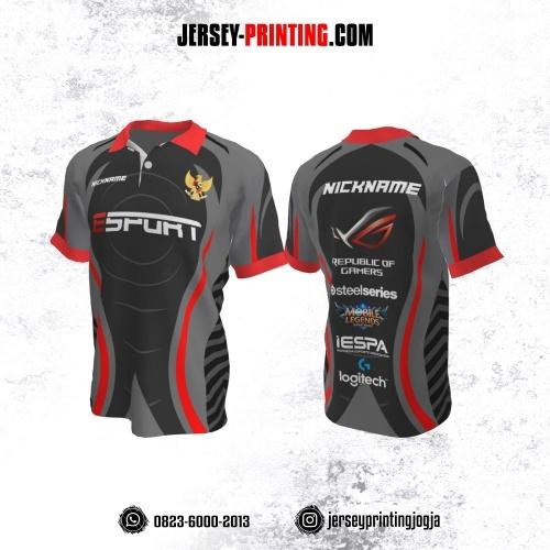 Jersey Gaming Esports Kerah Polo Abu-abu Hitam Merah Motif Garis
