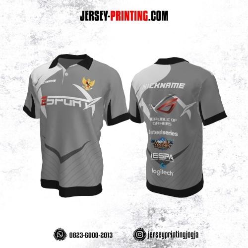 Jersey Gaming Esports Kerah Polo Abu-abu Putih Hitam Motif Garis