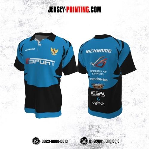 Jersey Gaming Esports Kerah Polo Biru Corak Hitam