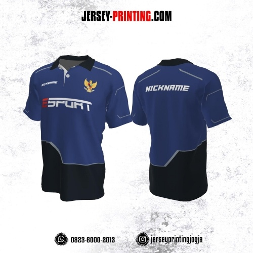 Jersey Gaming Esports Kerah Polo Biru Hitam Garis Abu-abu