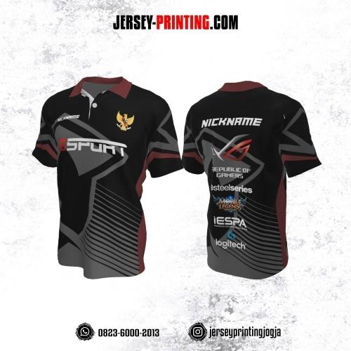Jersey Gaming Esports Kerah Polo Hitam Abu-abu Burgundy Motif Strip