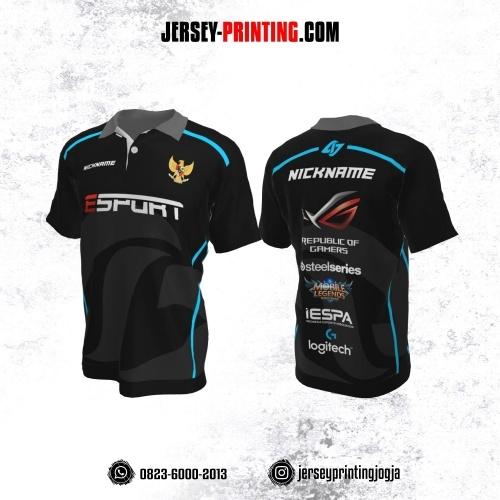 Jersey Gaming Esports Kerah Polo Hitam Abu-abu Garis Biru