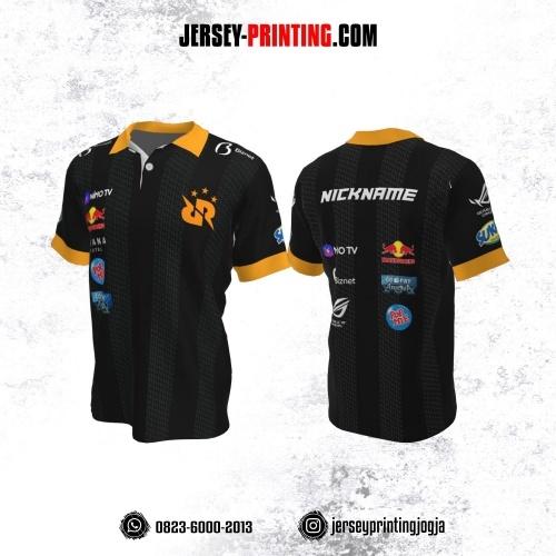 Jersey Gaming Esports Kerah Polo Hitam Abu-abu Kuning Motif Seamless