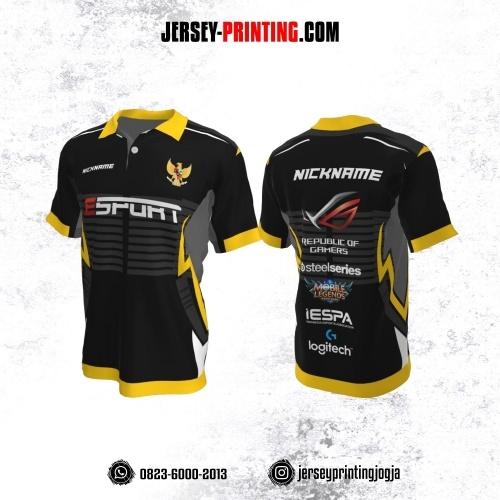 Jersey Gaming Esports Kerah Polo Hitam Abu-abu Kuning Motif Strip