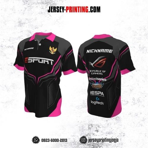 Jersey Gaming Esports Kerah Polo Hitam Abu-abu Pink Motif Garis