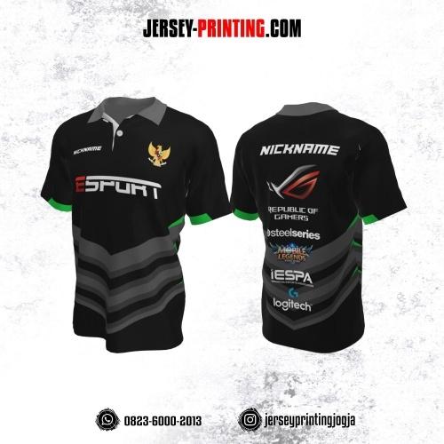 Jersey Gaming Esports Kerah Polo Hitam Corak Abu-abu Hijau