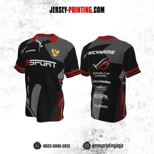 Jersey Gaming Esports Kerah Polo Hitam Corak Abu-abu Maroon