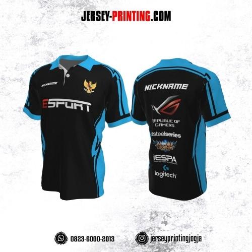 Jersey Gaming Esports Kerah Polo Hitam Corak Biru