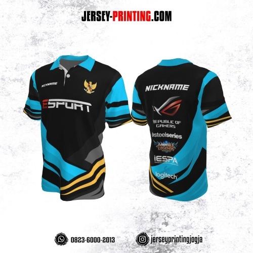 Jersey Gaming Esports Kerah Polo Hitam Corak Biru Kuning