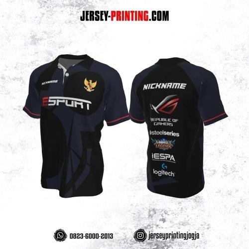 Jersey Gaming Esports Kerah Polo Hitam Corak Dongker