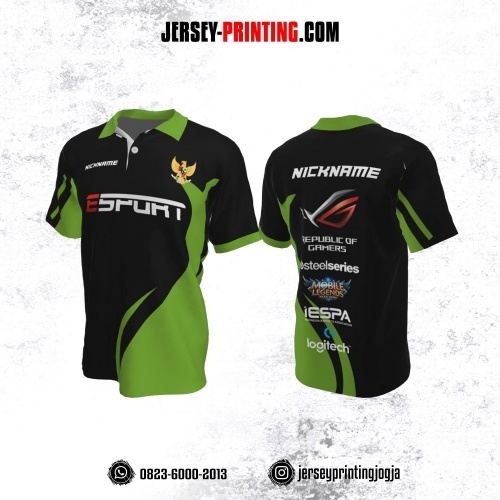 Jersey Gaming Esports Kerah Polo Hitam Corak Hijau