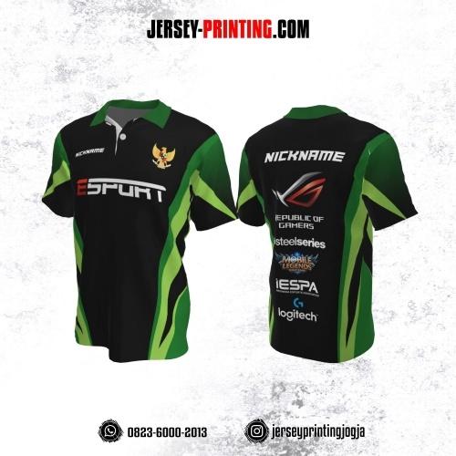 Jersey Gaming Esports Kerah Polo Hitam Corak Hijau Kombinasi