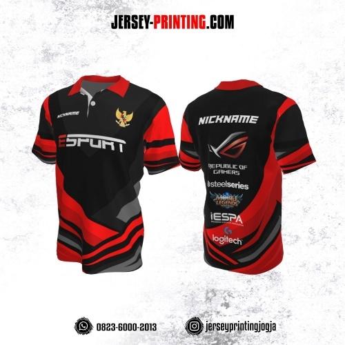 Jersey Gaming Esports Kerah Polo Hitam Corak Merah Abu-abu