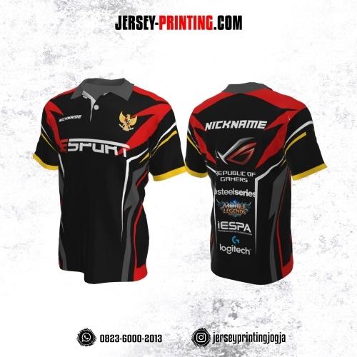 Jersey Gaming Esports Kerah Polo Hitam Corak Merah Kuning