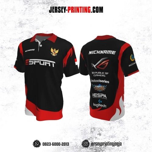 Jersey Gaming Esports Kerah Polo Hitam Corak Merah Putih