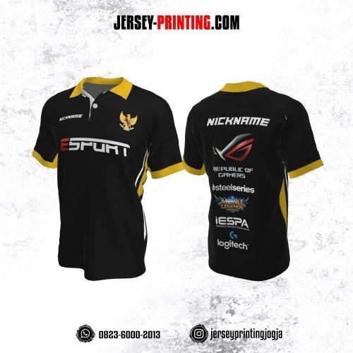 Jersey Gaming Esports Kerah Polo Hitam Garis Kuning Putih