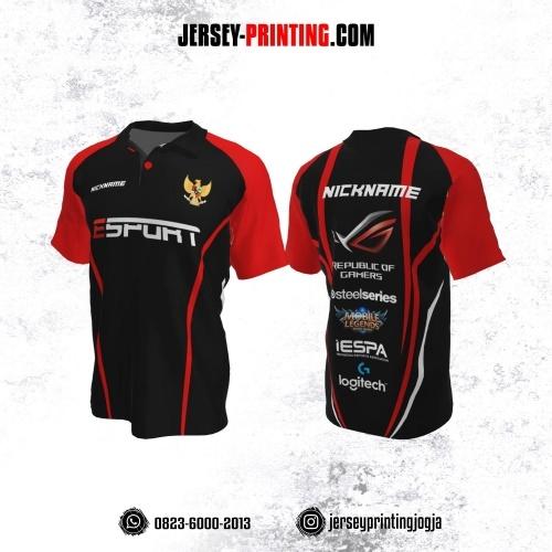 Jersey Gaming Esports Kerah Polo Hitam Garis Merah Putih