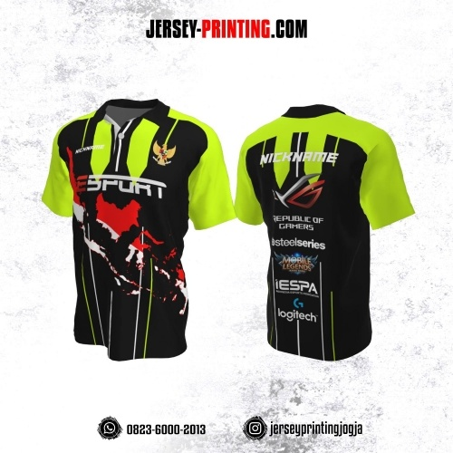 Jersey Gaming Esports Kerah Polo Hitam Hijau Motif Peta Indonesia Merah Putih