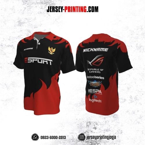 Jersey Gaming Esports Kerah Polo Hitam Kombinasi Merah