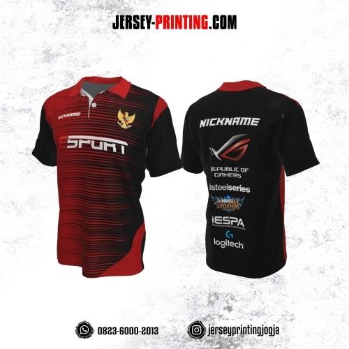Jersey Gaming Esports Kerah Polo Hitam Merah Motif Garis