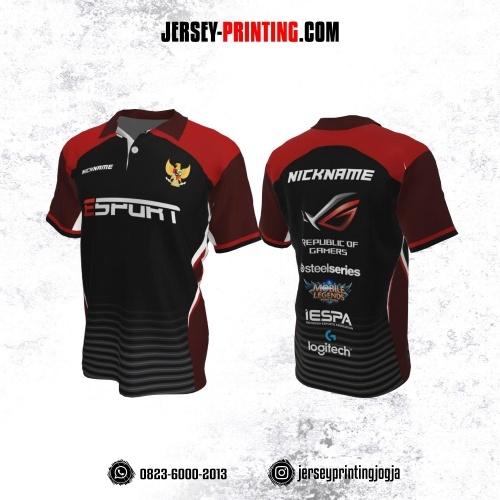 Jersey Gaming Esports Kerah Polo Hitam Merah Motif Stripe Abu-abu