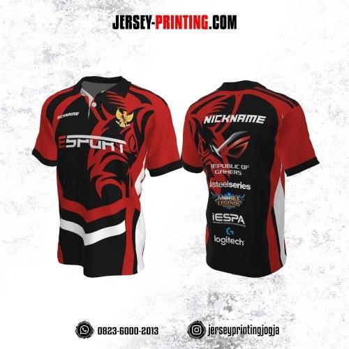 Jersey Gaming Esports Kerah Polo Hitam Merah Putih Motif Abstrak
