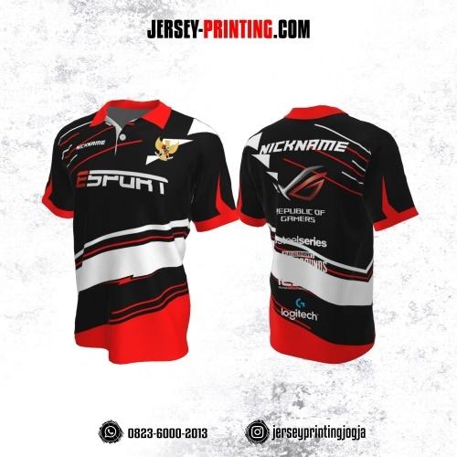 Jersey Gaming Esports Kerah Polo Hitam Merah Putih Motif Garis