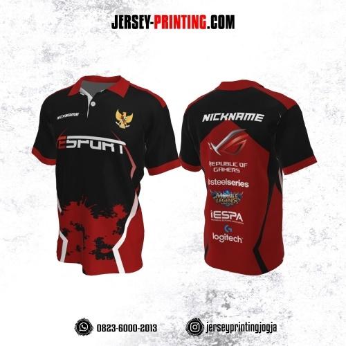 Jersey Gaming Esports Kerah Polo Hitam Merah Putih Motif Splash Tinta