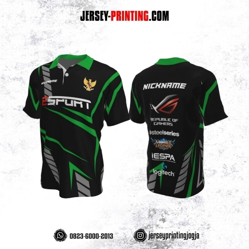 Jersey Gaming Esports Kerah Polo Hitam Motif Abstrak Hijau Abu-abu
