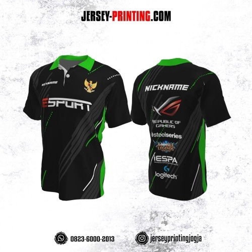 Jersey Gaming Esports Kerah Polo Hitam Motif Garis Abu-abu Hijau