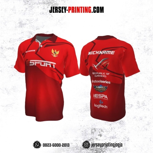 Jersey Gaming Esports Kerah Polo Merah Corak Maroon