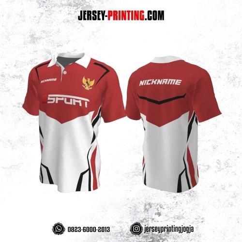 Jersey Gaming Esports Kerah Polo Merah Putih Garis Hitam