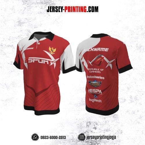 Jersey Gaming Esports Kerah Polo Merah Putih Hitam Motif Garis