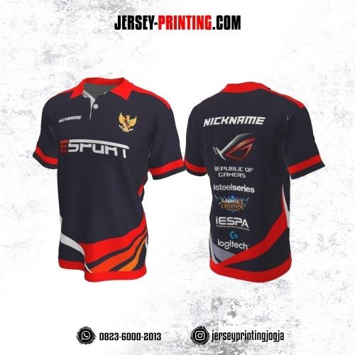 Jersey Gaming Esports Kerah Polo Navy Corak Merah Orange Putih
