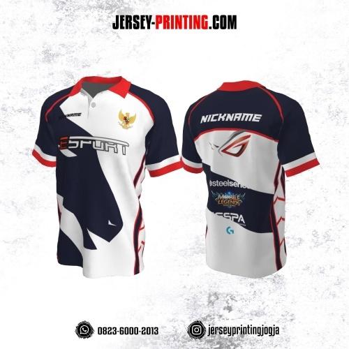 Jersey Gaming Esports Kerah Polo Putih Corak Dongker Merah