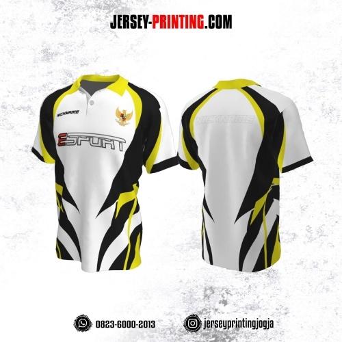 Jersey Gaming Esports Kerah Polo Putih Corak Hitam Kuning
