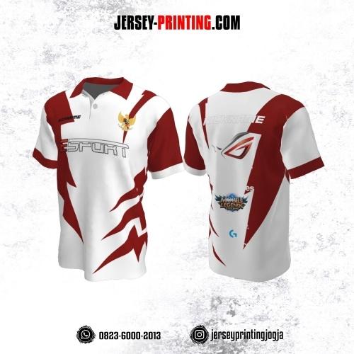 Jersey Gaming Esports Kerah Polo Putih Corak Merah
