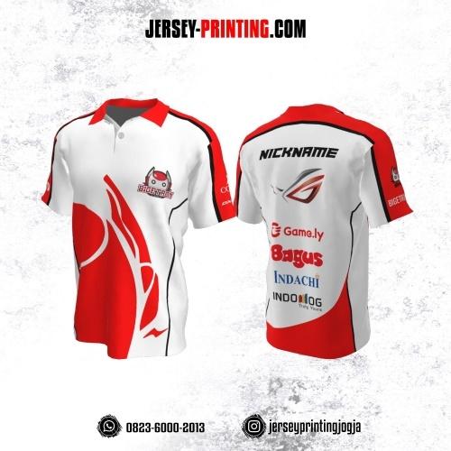 Jersey Gaming Esports Kerah Polo Putih Corak Merah Hitam