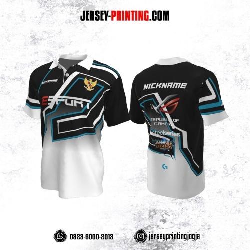 Jersey Gaming Esports Kerah Polo Putih Hitam Biru Motif Garis