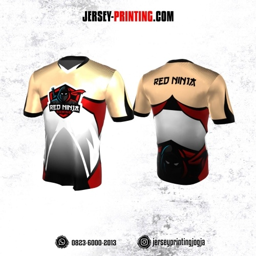 Jersey Gaming Esports Krem Corak Putih Hitam Merah