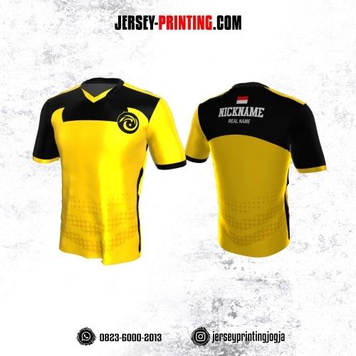 Jersey Gaming Esports Kuning Hitam Motif Polkadot