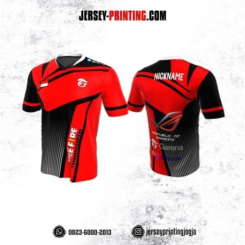 Jersey Gaming Esports Merah Hitam Putih Motif Garis