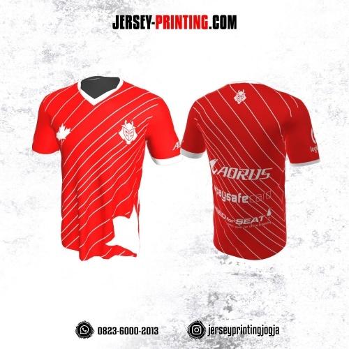 Jersey Gaming Esports Merah Motif Garis Putih