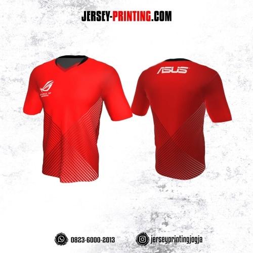 Jersey Gaming Esports Merah Motif Garis Putih Hitam