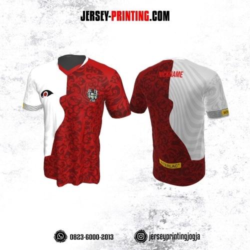 Jersey Gaming Esports Merah Putih Motif Batik Maroon
