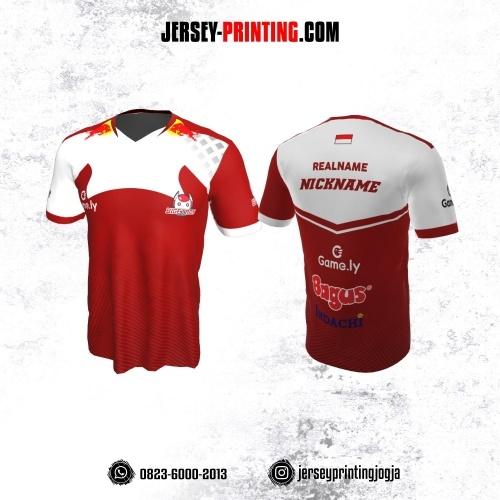 Jersey Gaming Esports Merah Putih Motif Garis
