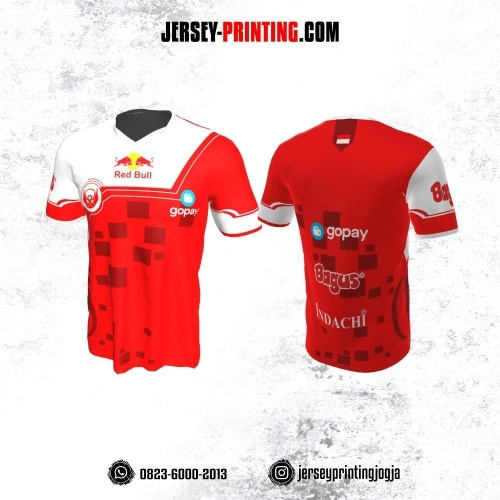 Jersey Gaming Esports Merah Putih Motif Geometris