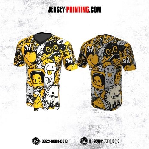 Jersey Gaming Esports Motif Doodle Art Hitam Kuning Putih